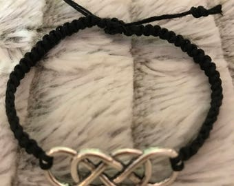 Double infinity charm black hemp bracelet - adjustable