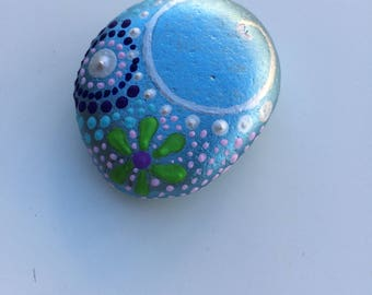 Stone paperweight celeste metallic hand-painted, personalized with initials of his name