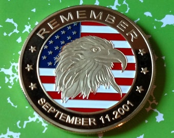 USA Remember 9/11 Bald Eagle Colorized Art Coin