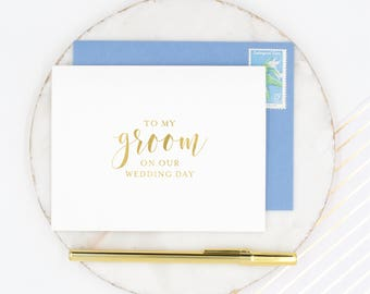 To My Groom Card, Groom Card, Gold Foil To my Groom Card, Husband Wedding Day Card, On Our Wedding Day Card, Gold Foil Groom Card