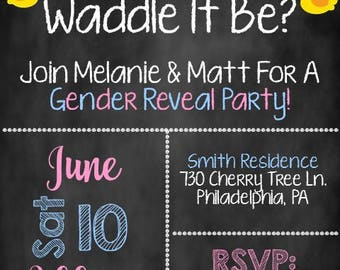 Waddle it Be Gender Reveal Invite, Gender Reveal Party Invitation