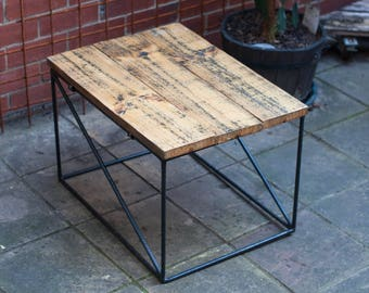 Side table with timber top, reclaimed timber, metal legs, outdoor table, end table