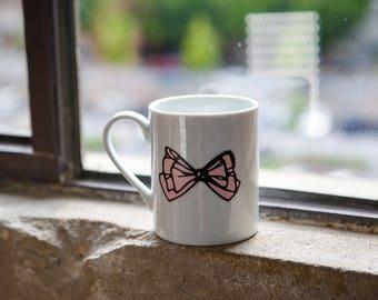 Feminine Bow Mug + White Dots