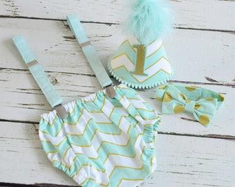 Boys Cake smash outfit - First birthday Baby boy set
