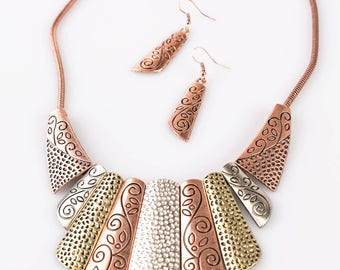 NEW Copper, Sliver , Brass Elegant Necklace Jewelry Set