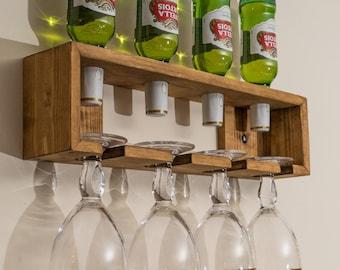 beer bottle and glass holder