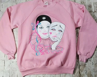 Vintage 1990 Pink Jerzees Comedy Tragedy Mask Sweatshirt Youth L Adult S