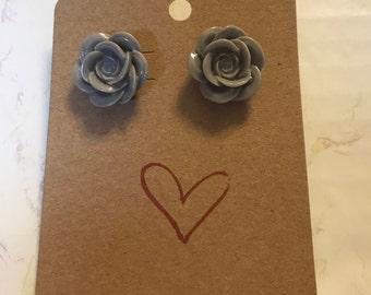Gray Plastic Button Earrings