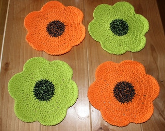 Handmade Crochet Dishcloths - 100% Cotton, Adorable bright Flowers (set of 4)
