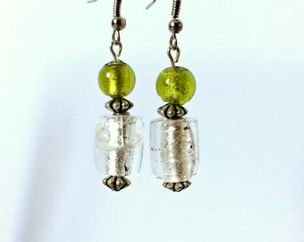 Green and White Glass Beaded Earrings