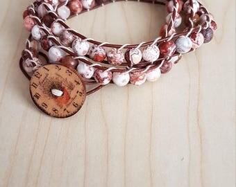 Crazy Agate leather wrap bracelet REDUCED