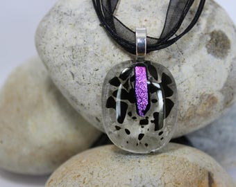 clear with black and pink fused glass pendent with necklace necklace