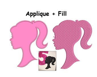 Barbie Embroidery Design - Barbie Applique and Barbie Fill designs - instant download