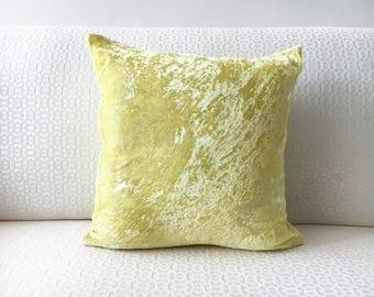 Lemon Yellow Velvet Euro sham 26x26 Pillow cover 24x24 22x22 20x26 28x28 20x36 Yellow silk velvet pillow Pillowcase for sofa