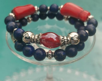 Bracelets in red and blue stones (duo)