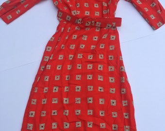 Vintage 90s Nordstrom Petite Focus red dress with square pattern with belt size 6