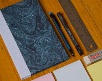 "8"" x 5"" Handbound Blue Marbled Sketchbook with Toned Tan Paper"