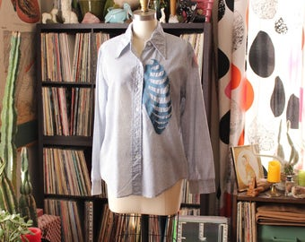 womens upcycled vintage shirt with applique rib cage . applique ribcage shirt . button down shirt with micro daisy print