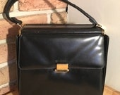 Lucille de Paris Vintage 1950's LEATHER BOX Purse. 50s DESIGNER Kelly Bag Pocketbook