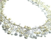 Bridal Pearl and Crystal Vine Necklace, Convertible Necklace/ Headband/ Tiara/ Hair Vine, Bridal Jewelry, Bridal Vine Necklace, Hair Piece