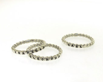 Stacking Ring, dotted custom made ring with your personalized word in sterling silver by Kathryn Riechert (Tiny Text)