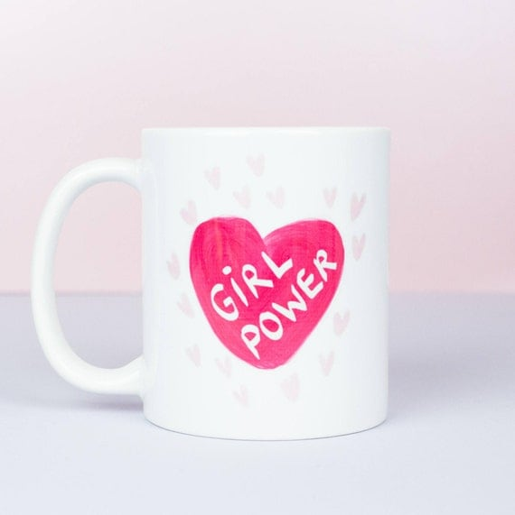 Girl power personalised mug, bright pink heart with GIRL POWER! yas dude, hand drawn heart