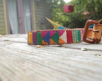 Vtg Woven Guatemalan Tribal Leather Hippie Boho Belt 32