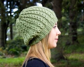Leaf Green Slouchy Knit Hat - Green Vegan Hat - Boho Hat - Hipster Hat - Hippie Hat - Womens Tam - Mens Beanie - Unisex Hat - Gift For Her