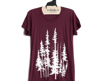Fitted XL - Soft  Tri-blend Maroon Ladies Tee with Evergreen Trees Print