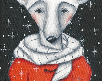 mouse, winter, Decoration, Christmas Holiday Print on Wood, stocking stuffer, gift for her, wall art,folk art, wood block art, animals