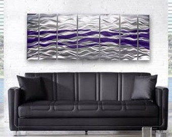 Large Multi Panel Modern Metal Wall Art In Silver & Purple, Handmade Contemporary Abstract Wall Painting - Caliente Purple XL by Jon Allen