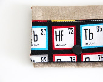 Card holder - chemistry - periodic table - Mendeleiev - sciences -  geek - teacher - business cards - shopping cards - Maths - Black