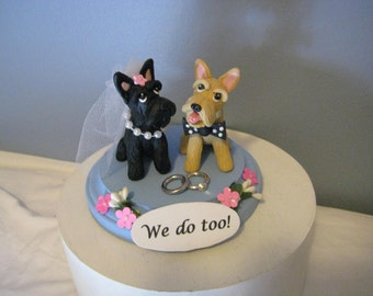 Scottish Terrier dogs Wedding Cake Topper, Scotties, anniversary, bride and groom, clay, handmade, OOAK, whimsical