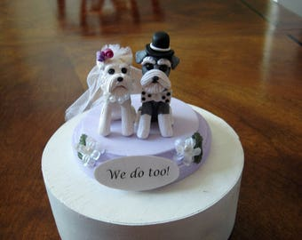 Schnauzer dogs Wedding, Anniversary, Shower,  Cake Topper,  gray, clay, OOAK, whimsical, terrier, dog, OOAK, YOUR dogs