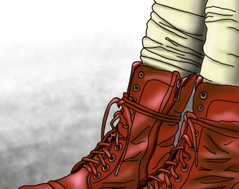 Red Boots - colourful fine art print by Amanda Hone