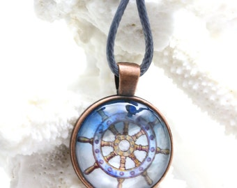 Steampunk Ships Wheel Jewelry Ship Wheel Pendant Sailor Ship Wheel Nautical Art Watercolor Pirate Painting Sea Life Buccaneer Beach Necklace