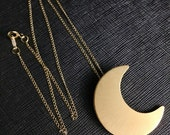 Stevie Nicks Crescent Moon inspired Necklace with 18 Inch GOLD-FILLED Curb Chain,  24K Gold Plate Overlay on Sterling Silver Moon Pendant