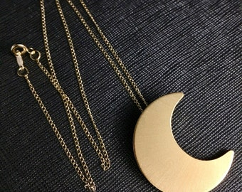 Stevie Nicks Crescent Moon inspired Necklace with 24 Inch GOLD-FILLED Curb Chain,  24K Gold Plate Overlay on Sterling Silver Moon Pendant