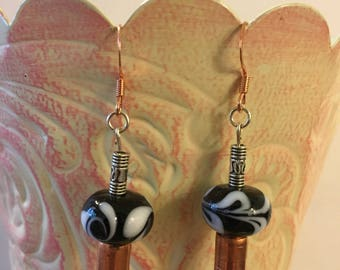 Swirl Black and White with copper tube bead and silver accents ear wires
