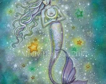 Sparkling Sea 12 x 16 Mermaid Fantasy Fine Art Giclee Print by Molly Harrison