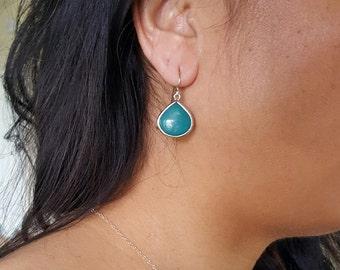 Teal Drops Sterling Silver Earrings, Bezel Earrings, Turquoise Earrings, Dangle Earrings
