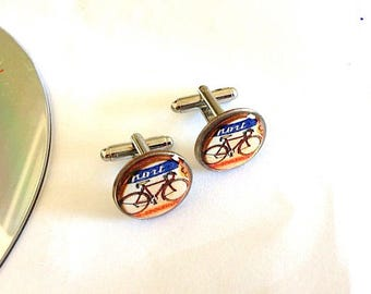 Vintage Bike Dime Cufflinks - Bike Cuff links -  vintage French Tour De France Bike - Coin Cufflinks - Repurposed Coins - Gift for Him