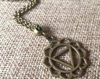 Bronze Solar Plexus Chakra Necklace / Solar Plexus Chakra Pendant / Chakra Jewelry / Chakra Charm Necklace / Reiki Necklace  / Yoga Jewelry