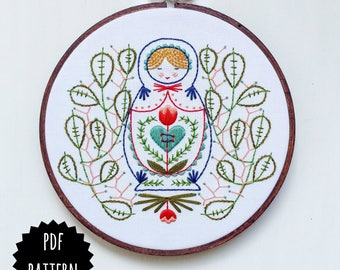 MISS MATRYOSHKA - pdf embroidery pattern, embroidery hoop art, nesting doll, russian folk art, nesting doll and leaves, stitching design