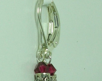 Ruby Swarovski Crystal and Sterling Silver Earrings - E574