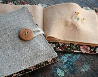 Small Linen Needle Book - Sewing Machine button