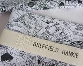 Sheffield Hankie - screen printed vintage map handkerchief