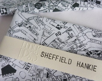 Sheffield Hankie - screen printed vintage map handkerchief