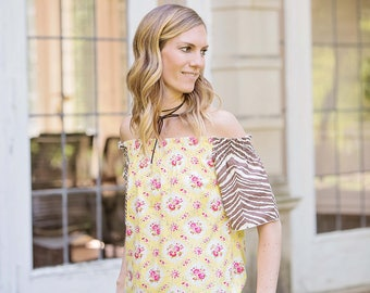 New Women's off the shoulders top blouse in Yellow Floral Melange