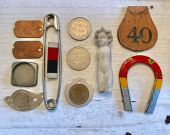 SALE 13 Vintage Odds & Ends LOT Frozen Charlotte Doll Jewelry SUPPLIES Altered Art Pin Token Collectables Curiosity Cabinet Steampunk Indust